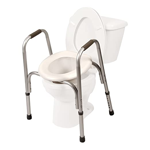 Raised Toilet Seat w/ Safety Frame (Two-in-One)