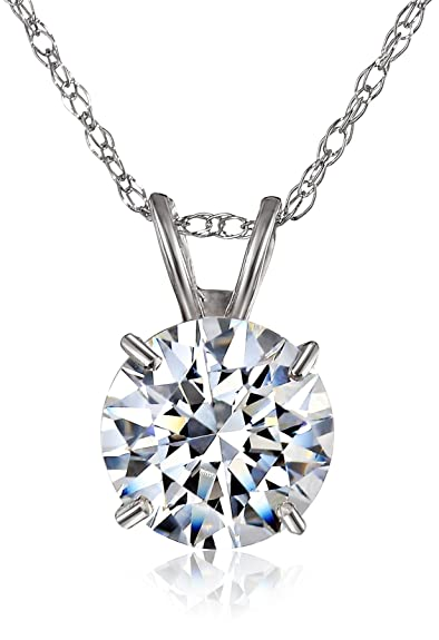 10k White Gold Solitaire Pendant Made with Round-Cut Swarovski Zirconia (1 cttw), 18""