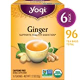Yogi Tea - Ginger - Supports Healthy Digestion - 6 Pack, 96 Tea Bags Total (Tamaño: Pack of 6)