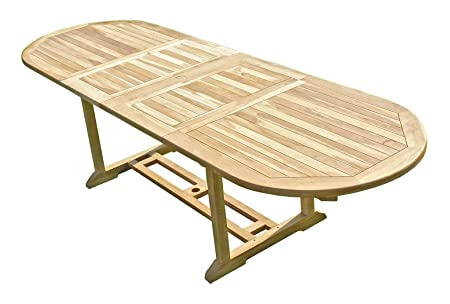 C&L Jardin MJETAHENS Henua Table de Jardin en Teck Beige 180 x 120 x 75 cm 10/12 Chaises