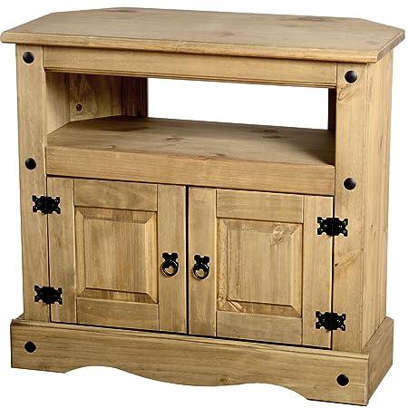 Corona de pino encerado tradicional mueble para televisor con 2 puertas de madera de la unidad salón