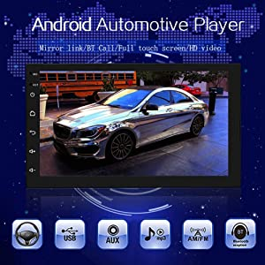 Double Din Car Stereo, Upgraded Version 7168 Upgraded Android 9.1 Car Stereo GPS Bluetooth Radio (No Cam) (Color: Without Cam)