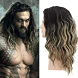 Menoqi Men Wigs Short Curly Male Hair Shoulder Length Ombre Golden Gradient Wigs Movie Cospaly Costume Wigs WIG170 (Color: Black / Gold)