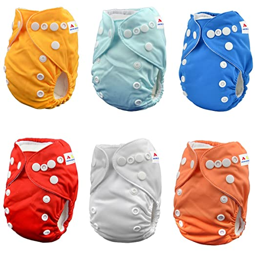 Alva Baby Pocket Newborn for Less Than 12pounds Baby Snaps Cloth Diaper Nappy 6pcs + 12 Inserts 6SVB03