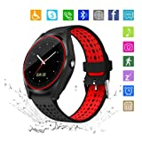 Kkcite Smart Watch Touch Screen Sweatproof Bluetooth Smartwatch Phone with SIM 2G GSM for Samsung Nexus6 HTC Sony and Android Smartphones Support Sleep Monitor, Push Message for Men Women (Red-Black) (Color: Red-black)