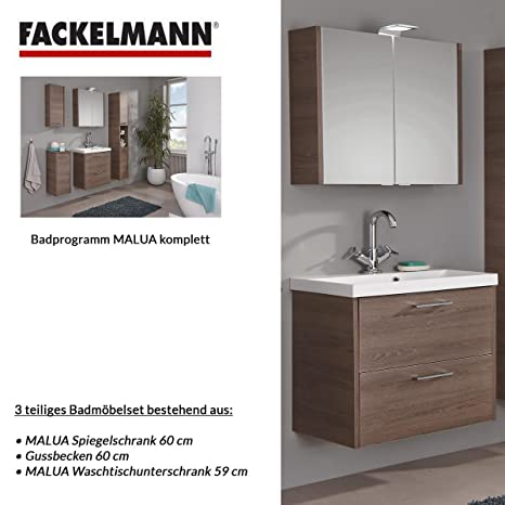 Fackelmann MALUA 3–Piece Bathroom Furniture Set Washbasin / Sink / Spiegel