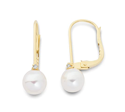 Miore MA9058E Women's 9 ct Gold Freshwater Pearl and Diamond Earrings