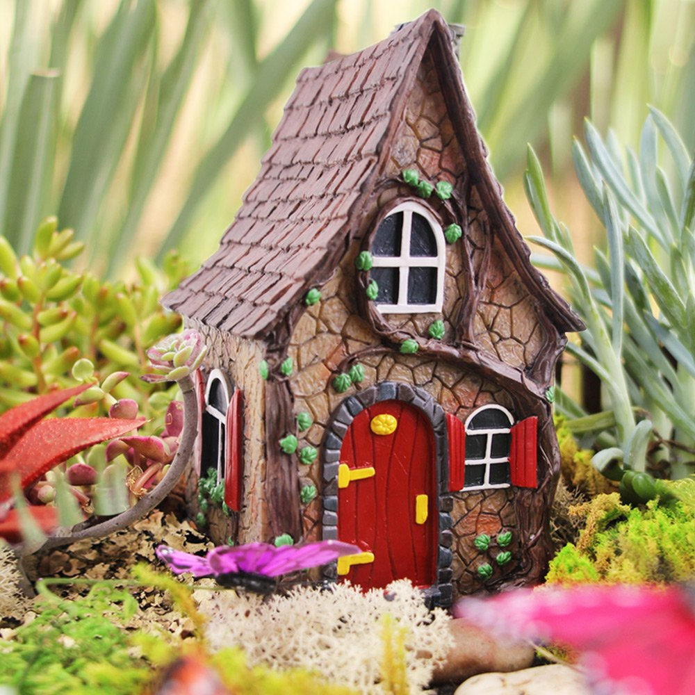 """Fairy Garden House - Mini Ivy Cottage 7"""" Tall By Fairying"""
