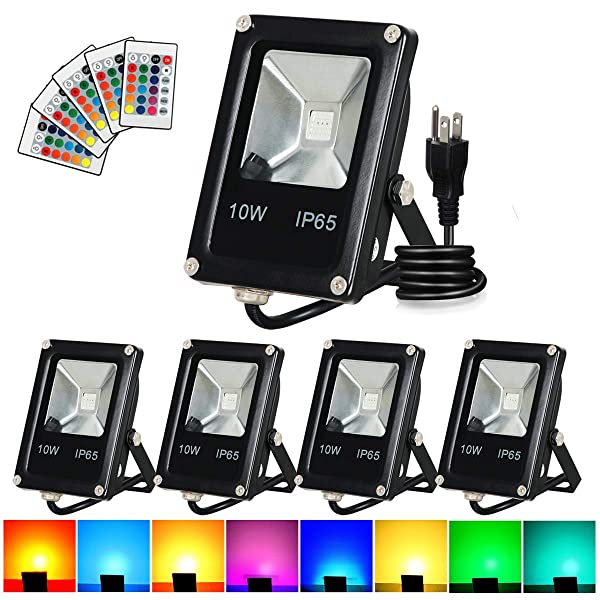 T-SUN Led Flood Light,10W RGB Color Changing Waterproof Security Lights, with US Plug, Super Bright Remote Control Outdoor Spotlight, for Garden, Yard, Warehouse Sidewalk,Backyard, Garage (5 pack) (Color: 5pack 10w)