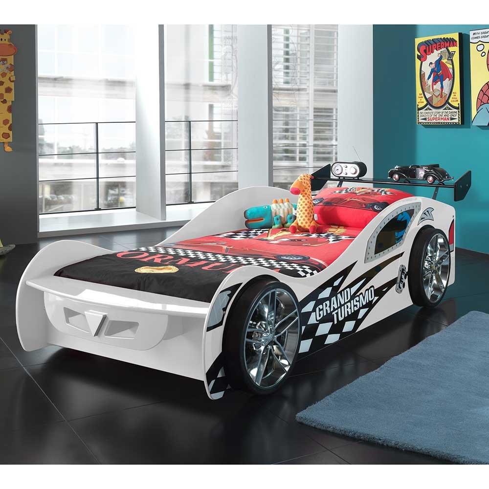 Rennwagenbett in Weiß Schwarz 90×200 Pharao24 jetzt kaufen