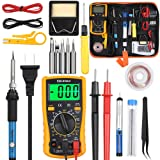 Vastar Soldering Iron Kit, Full Set 60W 110V Soldering Welding Iron Kit - Adjustable Temperature with Digital Multimeter, 5pcs Soldering Iron Tips, Desoldering Pump, Stand, Anti-static Tweezers