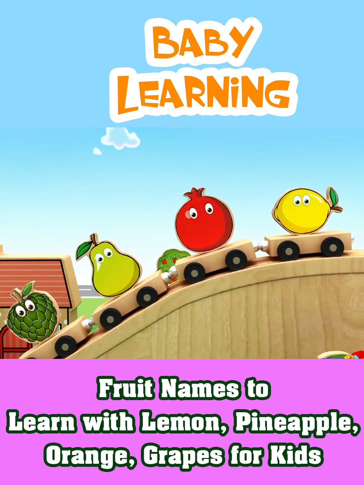 Fruit Names to Learn with Lemon, Pineapple, Orange, Grapes for Kids