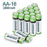 AA Rechargeable Batteries, AA Batteries 2800mAh High-Capacity AA Batteries Rechargeable AABatteries 1.2V Ni-MH Low Self Discharge (16pack) (Tamaño: 16pack)