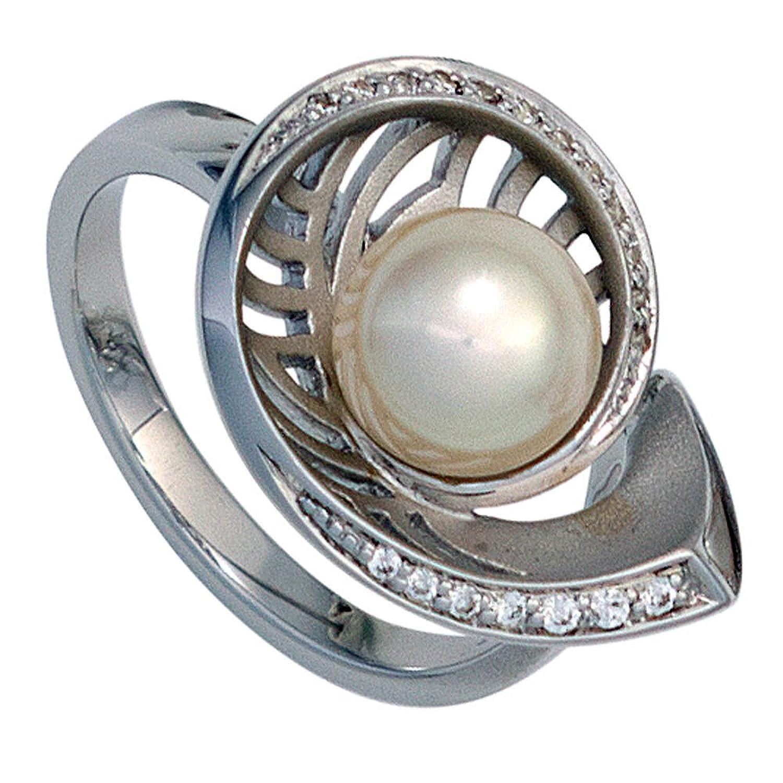 Damen Ring 585 Gold Weißgold 1 Akoya Perle 19 Diamanten Brillanten Perlenring ( Gold Ringe ) Größe : 58 (18.5) als Weihnachtsgeschenk kaufen