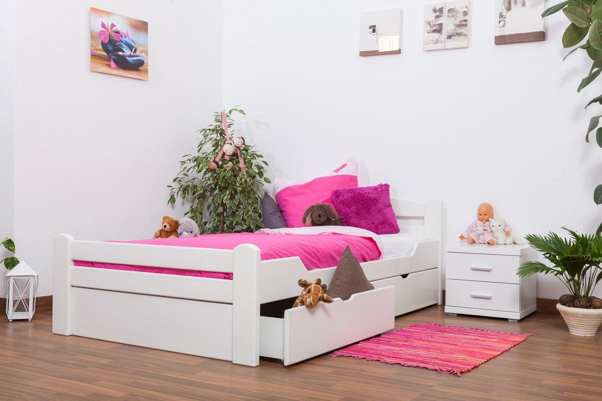 """Jugendbett """"Easy Sleep"""" K4 inkl. 2 Schubladen und 1 Abdeckblende, 120 x 200 cm Buche Vollholz massiv weiß lackiert jetzt bestellen"""
