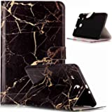 Galaxy Tab A 10.1 Case,ikasus Painted Marble PU Leather Fold Wallet Pouch Case Wallet Flip Cover Card Slots Stand Protective Case Cover for Galaxy Tab A 10.1 (2016) T580N/ T585N,Black Marble (Color: Black Marble)