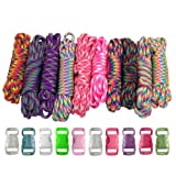 Paracord Planet 550lb Type III Paracord Combo Crafting Kits with Buckles for Friendship Bracelets and Beginners (TIEDYE) (Color: TIEDYE)
