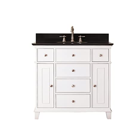 Avanity Windsor 36 in. Vanity with Black Granite top and Undermount Sink in White finish