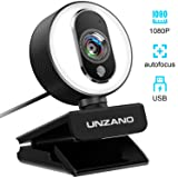 UNZANO PC Streaming Webcam with Ring Light, 1080P Full HD Web Camera Compatible with Xbox w/Dual Mic, Autofocus, Plug and Play, 360 Degree Rotatable (Color: White)