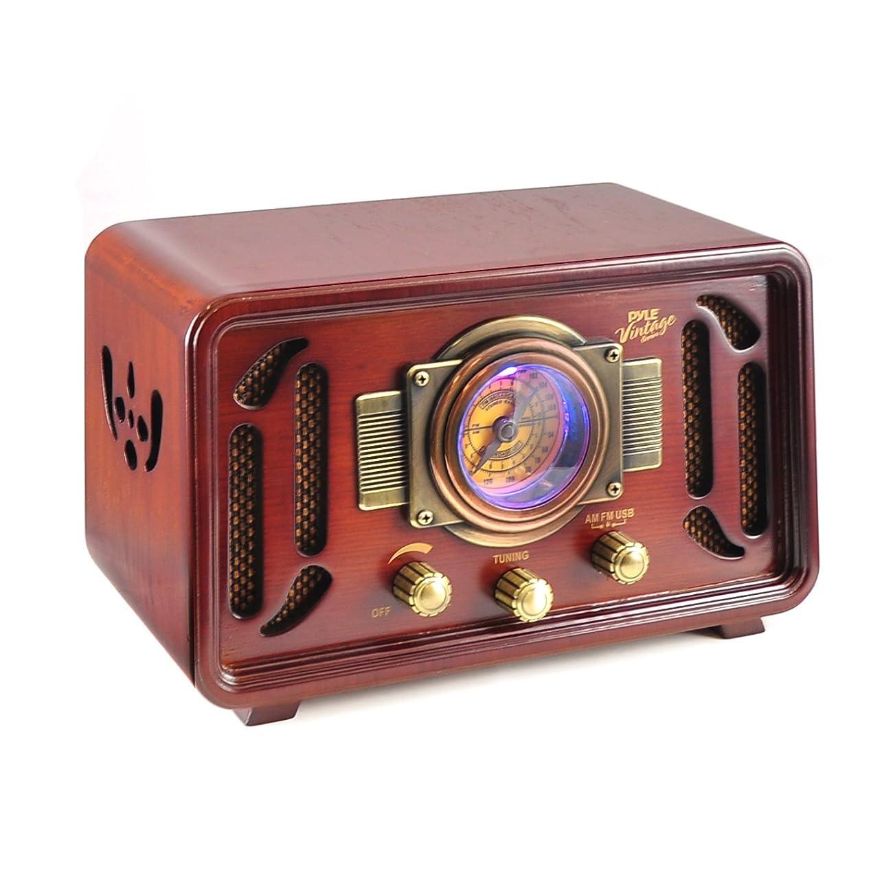 Pyle PUNP34BT Vintage Retro Classic Style Bluetooth Radio Sound System, USB/SD Readers, AM/FM Radio 0