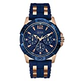 GUESS Men's Stainless Steel Casual Silicone Watch, Color: Gold-Tone/Navy Blue (Model: U0366G4)