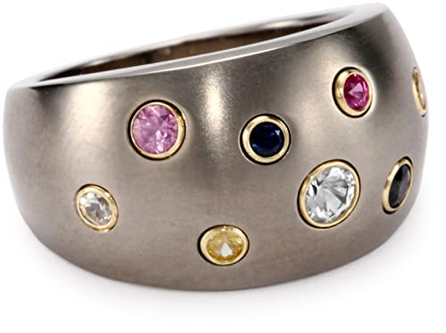 Women's Grey Titanium and 18K Yellow Gold Round Multi-Color Sapphire Dome Ring