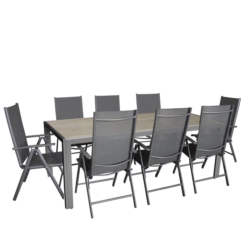 9tlg. Sitzgarnitur, Aluminium Gartentisch Tischplatte Polywood Grau 205x90cm, 8x Aluminium-Hochlehner mit 2x2 Textilenbespannung, 7-fach verstellbar, klappbar, anthrazit - Sitzgruppe Gartengarnitur Gartenmöbel