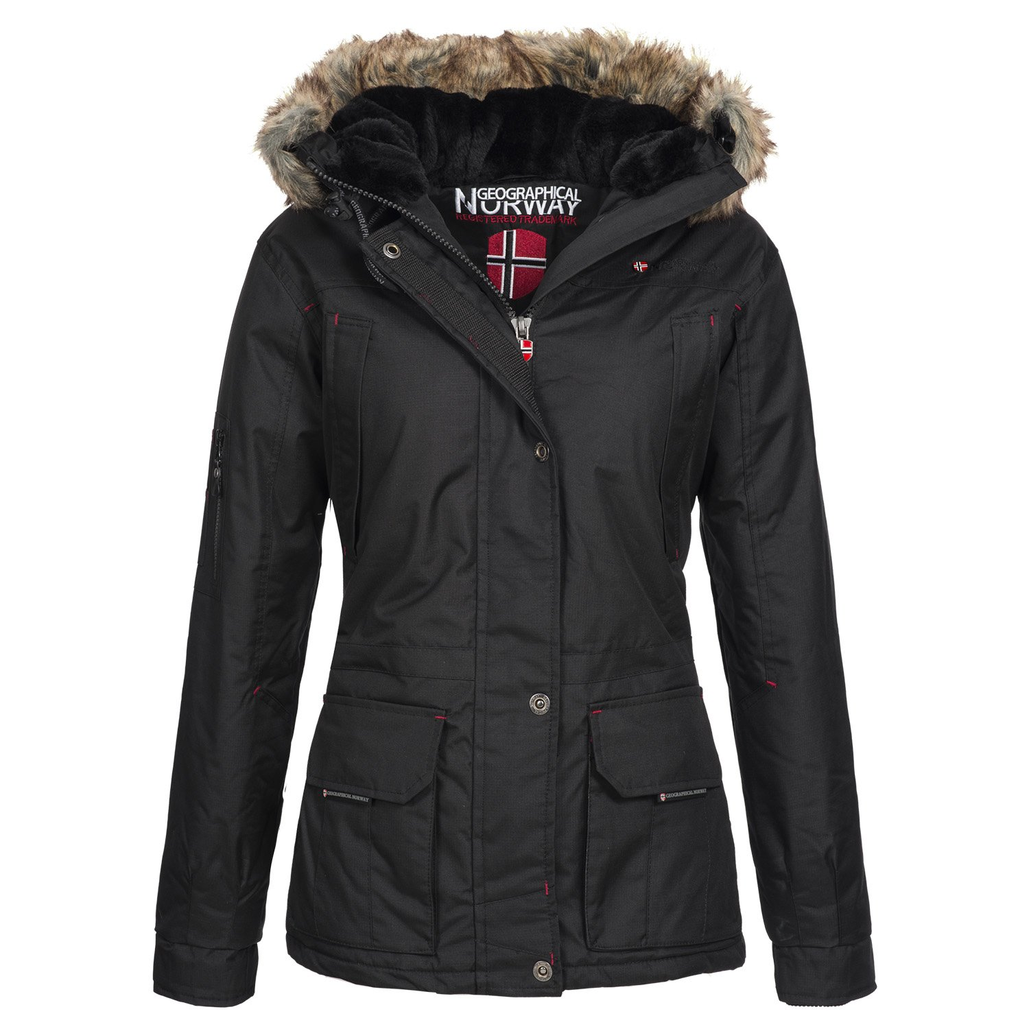 Geographical Norway Atlas Lady 2 Damen Outdoor Winterjacke mit Kunst-Fell Kapuze günstig bestellen