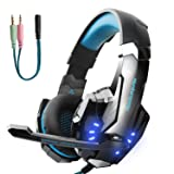 Hunterspider Gaming Headset for PS4, Xbox One Headset with Mic, Noise Cancelling Over Ear Headphones, LED Light, Bass Surround, Soft Memory Earmuffs for Laptop Mac iPad Computer Nintendo Switch Games (Color: Blue)