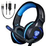 Xbox One Headset,Gaming Headset for PS4 PC Mobile Phone,3.5 mm Gaming Headset LED Light Over-Ear Headphones with Volume Control Microphone for Xbox PS4 Laptop Tablet USB Lighting WSQiWNi (Blue) (Color: Blue)