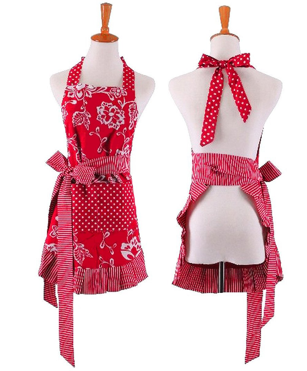 Cute Women Girls Red Aprons For Restaurant Kitchen