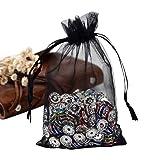 Pandahall 100 PCS 5x7 inch Black Organza Drawstring Bags Party Wedding Favor Gift Bags (Color: Black, Tamaño: 5x7