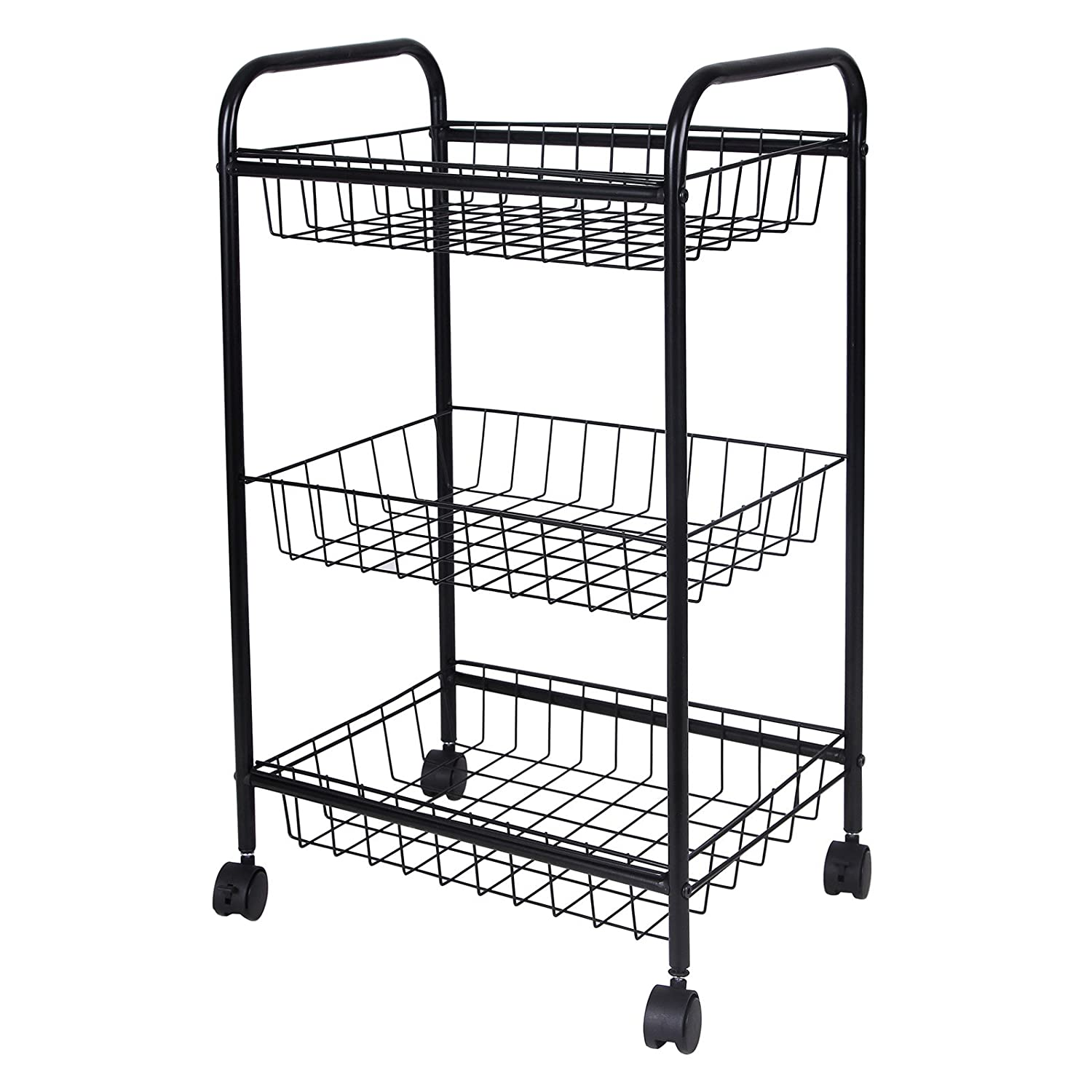 Songmics 3 Tiers Rolling Cart for Kitchen Pantry Office Bathroom Laundry All-Purpose Utility Storage Cart with wheels Black UBSC03H