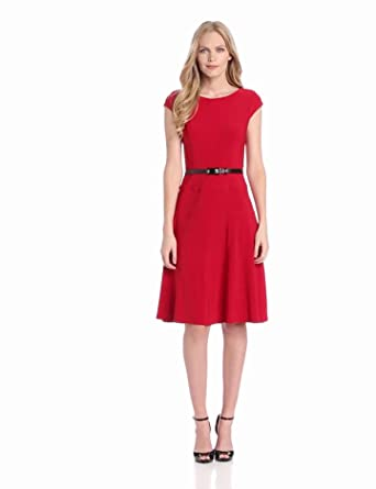 Anne Klein Women's Solid Matte Jersey Dress, Cardinal, 2