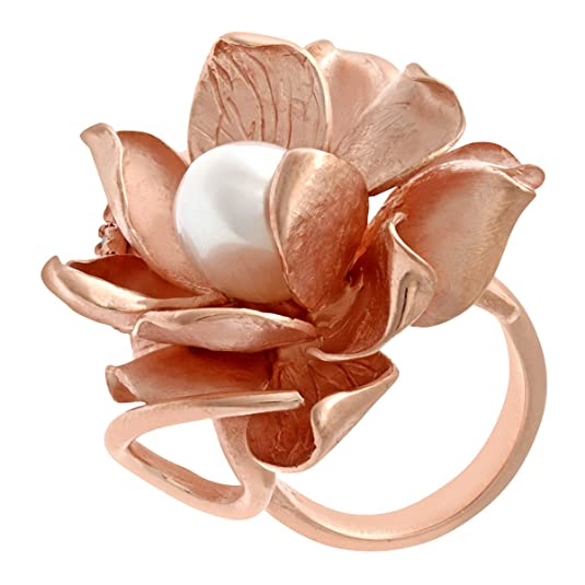 Citerna Rose Gold Plated Silver, Pearl and Red Enamel Large Flower Ring - Adjustable size