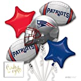 Andaz Press Balloon Bouquet Party Kit with Gold Cards & Gifts Sign, NFL Patriots Football Superbowl Party Foil Mylar Balloon Decorations, 1-Set (Color: Sports NFL Patriots)