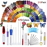 Magic Embroidery Pen Set, Kisstaker 210pcs Embroidery Pen Punch Needle with 170 Color Threads,Embroidery Patterns Punch Needle Kit Craft Tool for DIY Sewing Pattern Knitting (Embroidery Set) (Color: Embroidery Set)