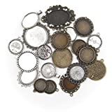 ALL in ONE 20pcs Mixed Cabochon Frame Setting Tray Pendant for DIY Jewelry Making (MIX) (Color: Mix)