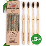 Himalayan Blue Bamboo Natural Biodegradable Charcoal Toothbrush Pack of 4 - Zero Waste Travel Refill - Eco-Friendly - Teeth Whitening Soft Medium but Firm Black Bristles - Bonus Gift E-book (Color: Charcoal Black)