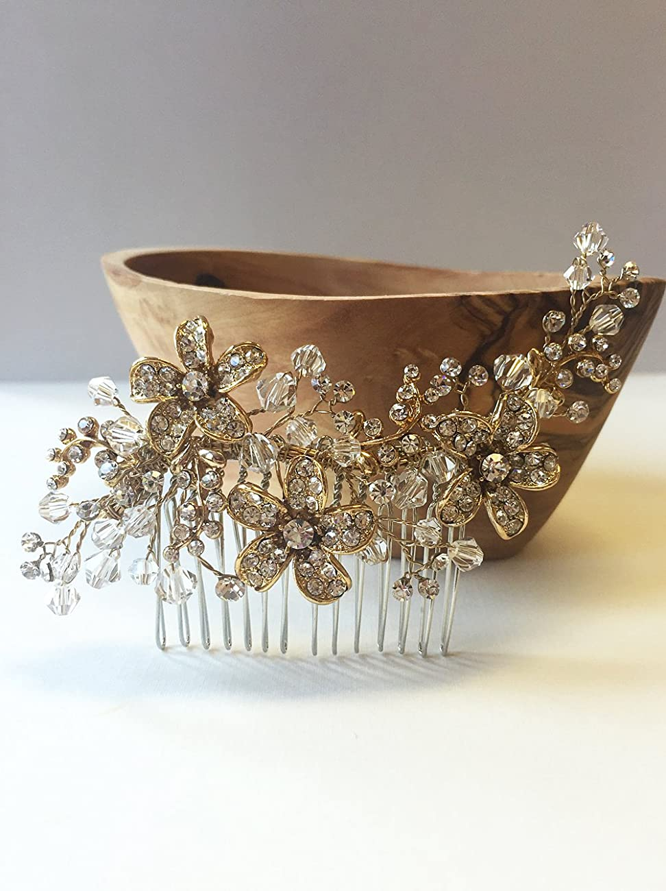 USABride Vintage Gold-Plated Rhinestone and Crystal Bridal Comb, Floral Bridal Headpiece 2239-G 1