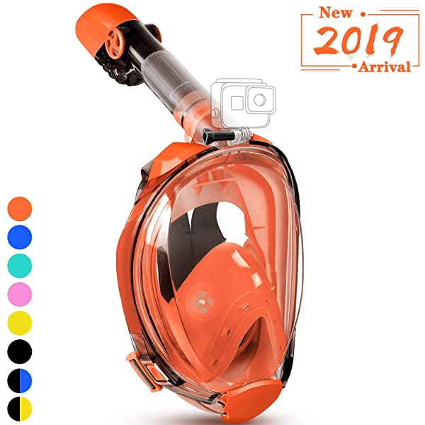 180/° Large View Easy Breath Dry Top Set Anti-fog Anti-leak for Adults Green L XL 2019 New Foldable Snorkeling Mask Full Face with Detachable Camera Mount Pivot Arm and Earplug X-Lounger Snorkel Mask