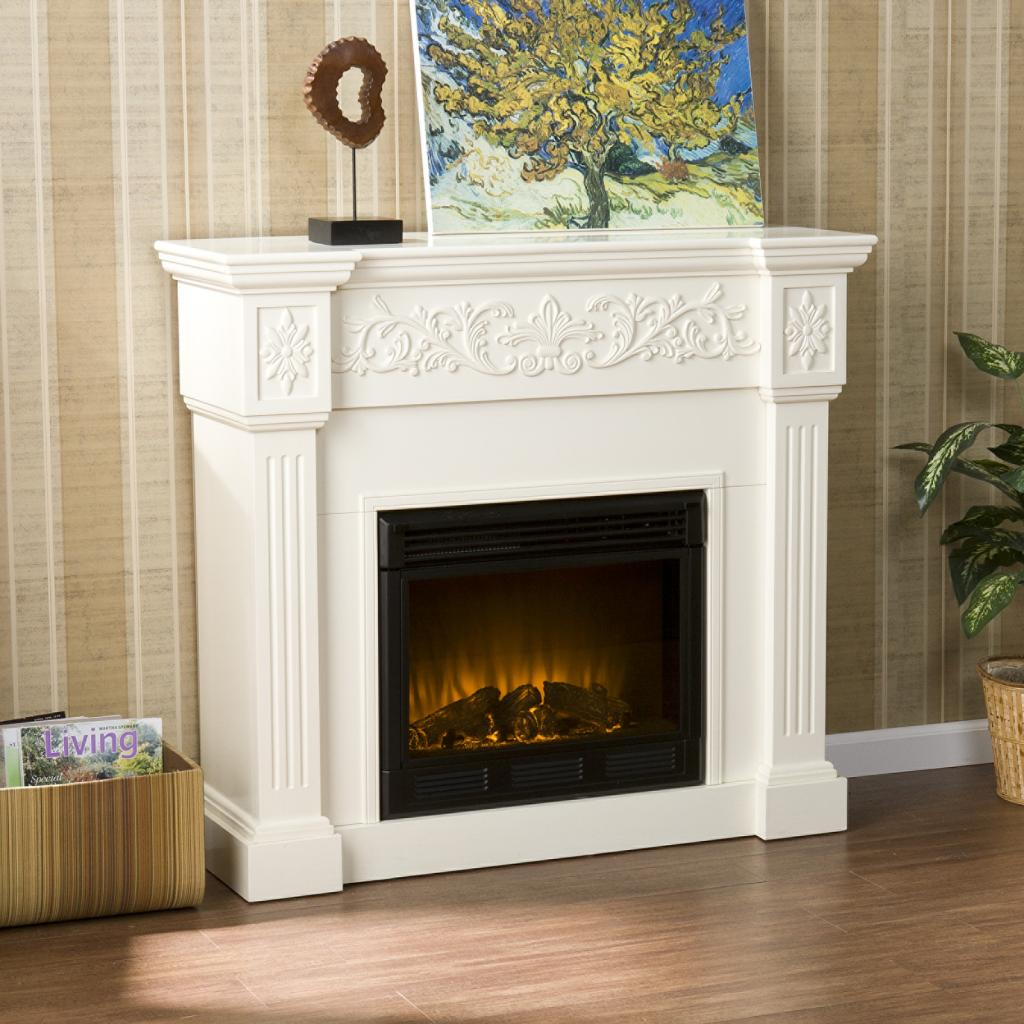 sei calvert electric fireplace ivory gel