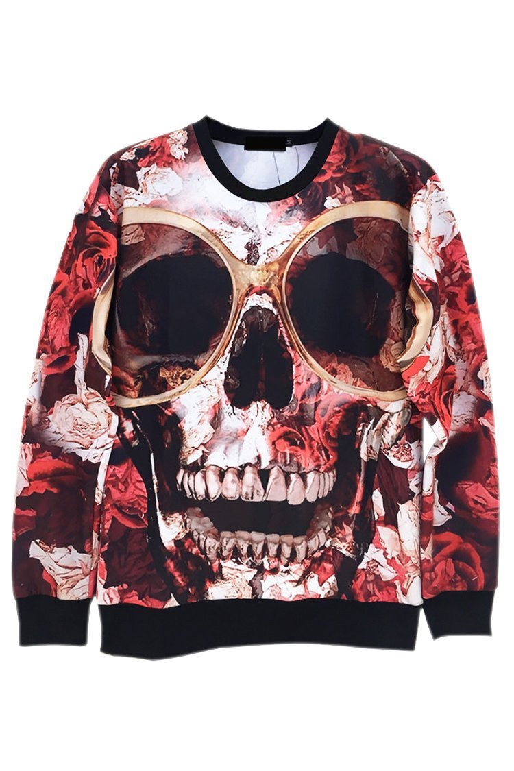 Women Pullover Skull Tie Dye Printed Sweater Sweatshirt