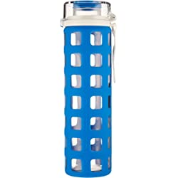Ello Syndicate BPA-Free Glass 20-Ounce Water Bottle with Flip Lid - Blue