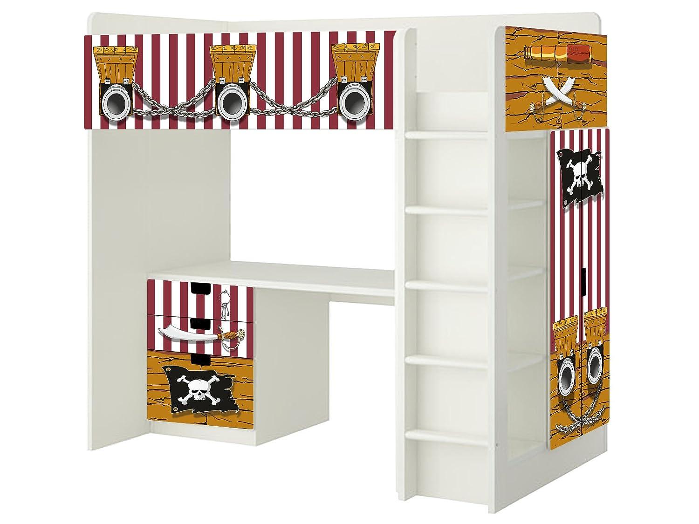 Piraten Aufkleber – SH02 – passend für die Kinderzimmer Hochbett-Kombination STUVA von IKEA – Bestehend aus Hochbett, Kommode (3 Fächer), Kleiderschrank und Schreibtisch jetzt kaufen
