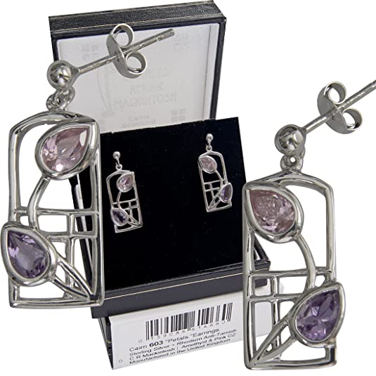 "Cairn 603 Silver Rennie Mackintosh Earrings ""Petals"" Amethysts & Pink Zirconias. Tarnish Resistant. British Made. Rennie Mackintosh Jewellery."