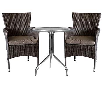 3tlg. Gartengarnitur Bistrotisch Ø60cm mit geriffelter Tischglasplatte + Rattansessel, stapelbar, Polyrattanbespannung, braun-meliert inkl. Sitzkissen