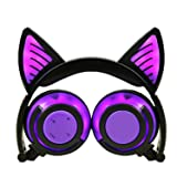 Foldable Wireless Headphones Glowing Cat Ear Stereo Wireless Bluetooth Headset With Microphone,Purple,China (Color: Purple)