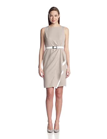 Anne Klein Women's Cascade Colorblock Crepe Dress, Stone, 14