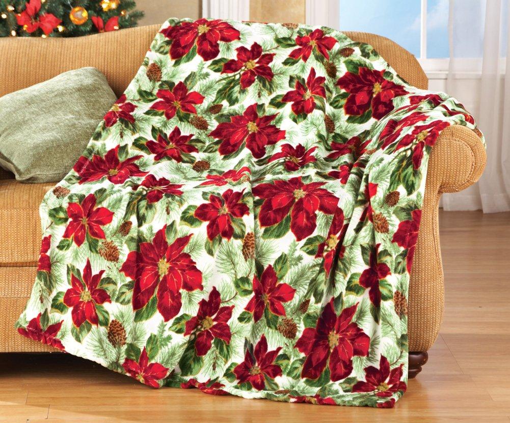 Ultraplush Fleece Poinsettia Throw Blanket